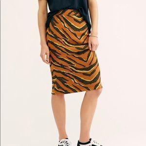 Free People Brown Easy Tiger Midi Knit Skirt